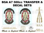 BSA A7 TRANSFER & DECAL SETS